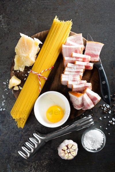Ingredients for cooking Carbonara pasta, spaghetti alla carbonara