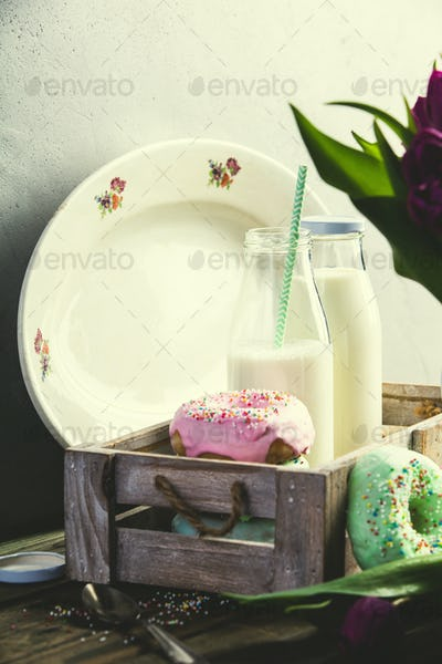 Milk and doughnuts