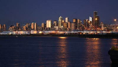 After Sunset Downtown City Skyline Seattle Washington Port Water