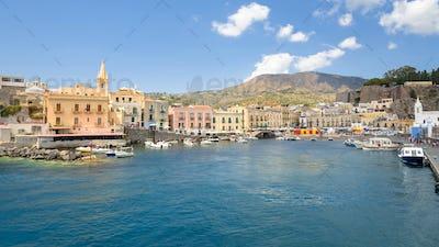 Panoramic view of Marina Corta in Lipari town