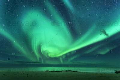 Aurora. Aurora borealis above the sea
