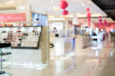Abstract blurred image of cosmetics department