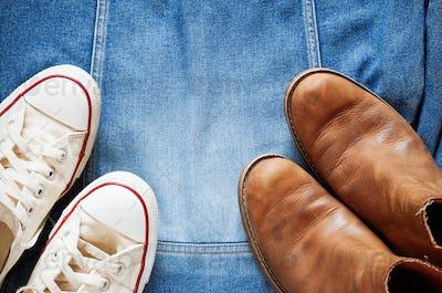 shoes on a denim jacket
