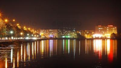 Panorama night city lights