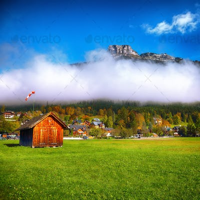 Sunny morning on the village Altaussee Alps Austria Europe