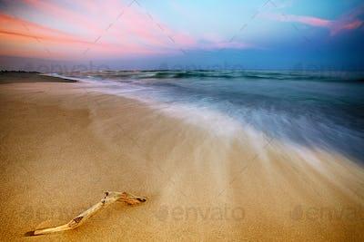 Magnificent long exposure sea sunset