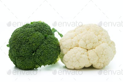Broccoli and cauliflower isolated on white background