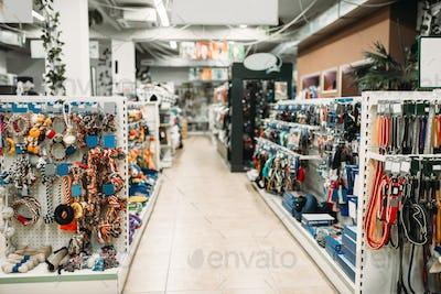 Pet shop interior, shelves with accessories