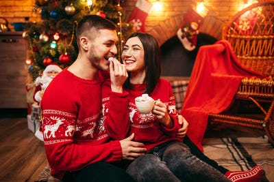 Love couple, romantic xmas celebration
