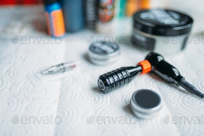 Tattoo artist workplace, tools for tattooing