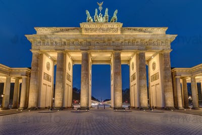 The famous illuminated Brandenburger Tor in Berlin