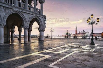 Venice landmark at dawn, Piazza San Marco, Doge Palace and San G