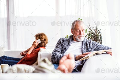Senior couple with smartphone relaxing at home.