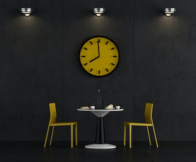 Black and yellow coffee room