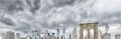 Panoramic view of the Manhattan and Brooklyn Bridge, NY.