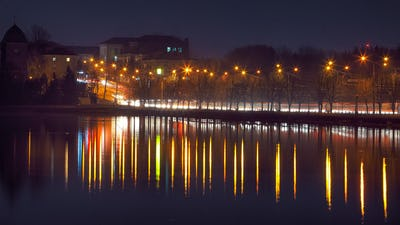 Panorama night city lights.