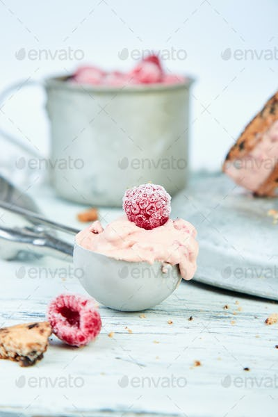 Spoon for Ice cream with strawberry.
