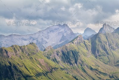 view on mountain ridge on cloudy day