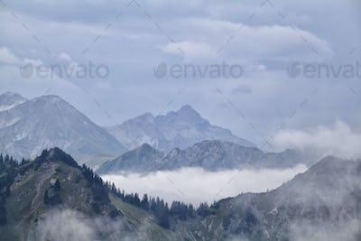 fog between mountain ridges