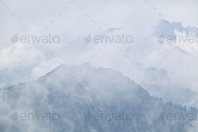 dense fog in mountains after rain