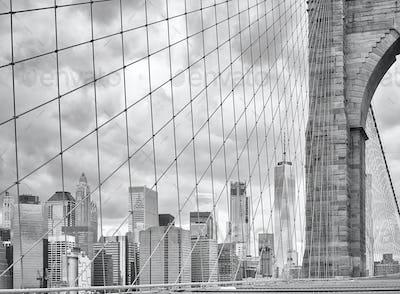 Manhattan seen from the Brooklyn Bridge, New York.
