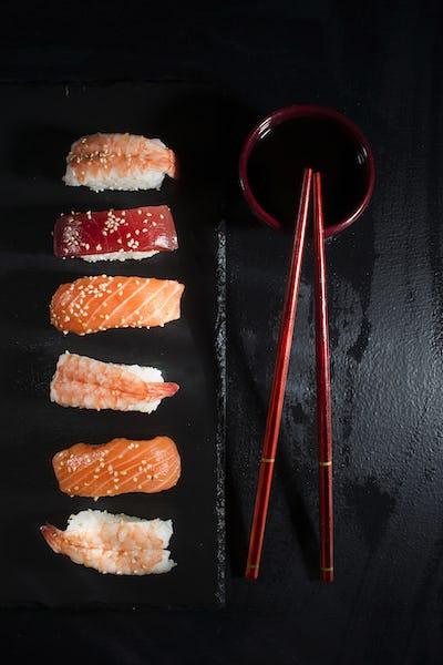 Sushi on a black background