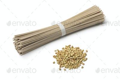 Heap of dried buckwheat seeds and buckwheat noodles