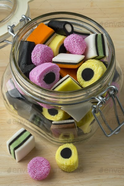Glass jar with Liquorice allsorts