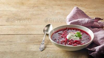 bowl of beet root soup borsch