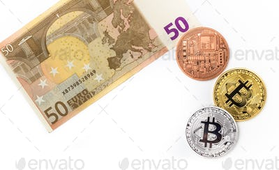 Image of bitcoins on euro bill