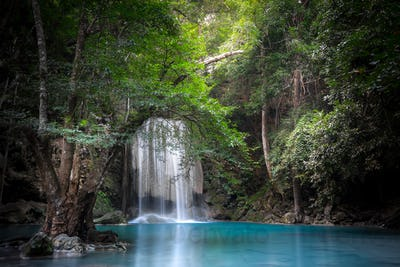 Jungle landscape with Erawan waterfall. Kanchanaburi, Thailand