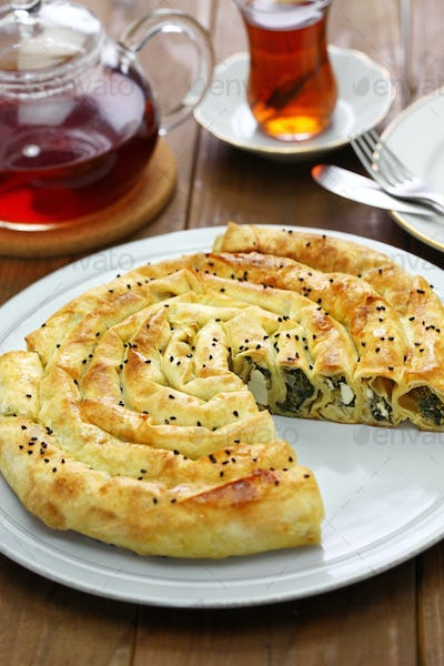 homemade rolled borek, turkish cuisine