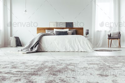 Low angle of bedroom interior