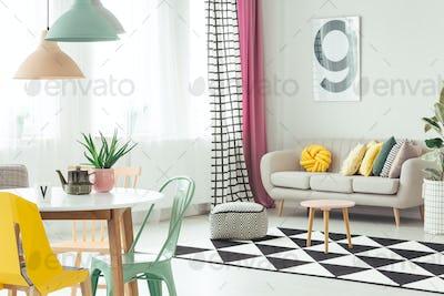 Settee in cozy apartment interior