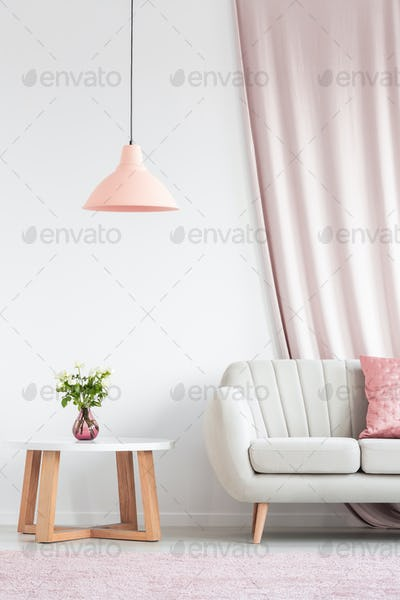 Living room with peach lamp