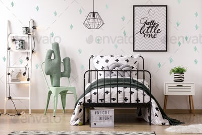 Kid's bedroom interior with cactus