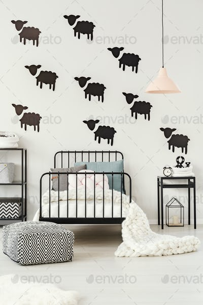 Sheep stickers in kid's bedroom