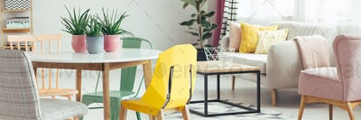 Yellow chair in living room