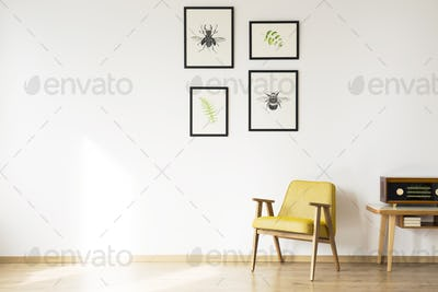 Simple retro room with armchair