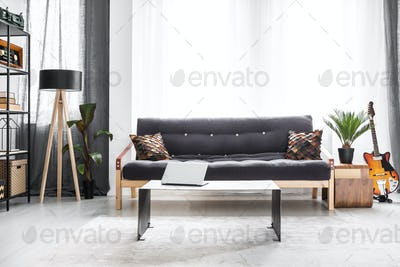 Settee in bright living room