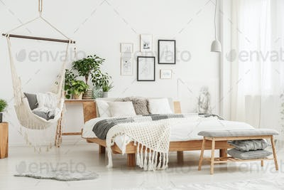 Hammock in bright bedroom