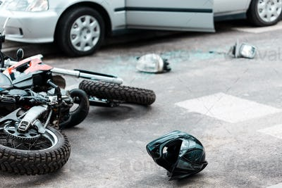 Overturned motorcycle after collision