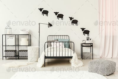 Teenager's bedroom with sheep stickers
