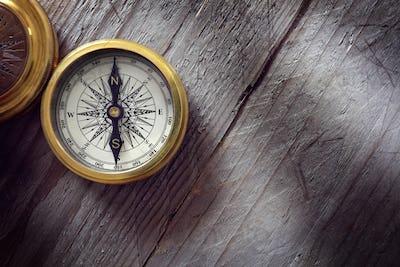 Antique golden compass