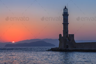 sunset in port of Chania, Crete