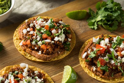 Homemade Beef and Cheese Tostadas