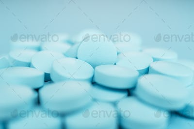 Pile Of Blue Pills Close-up