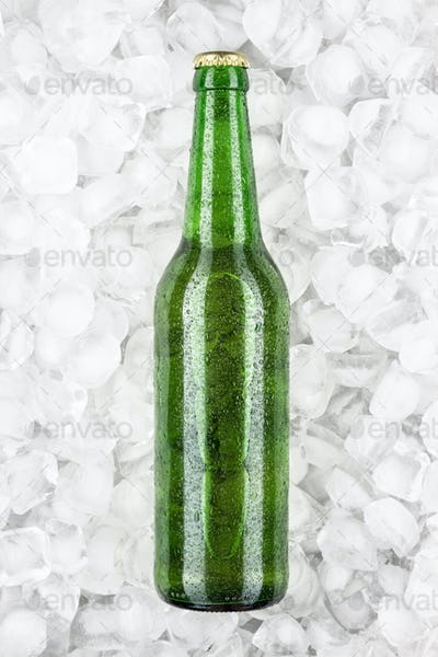 Green Beer Bottle In The Ice