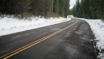 Two Lane Asphalt Road Leads Through Forest Wintertime