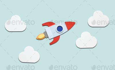 Launch rocket spaceship startup business